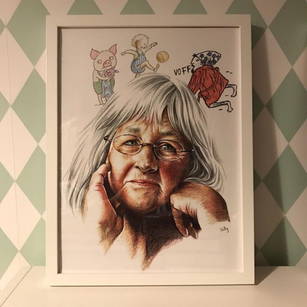 Porträtt av Barbro Lindgren skapat av Anna Ileby.